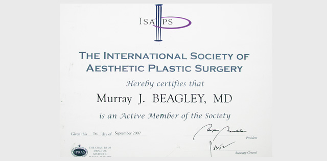 Active Member International Society of Aesthetic Plastic Surgery
